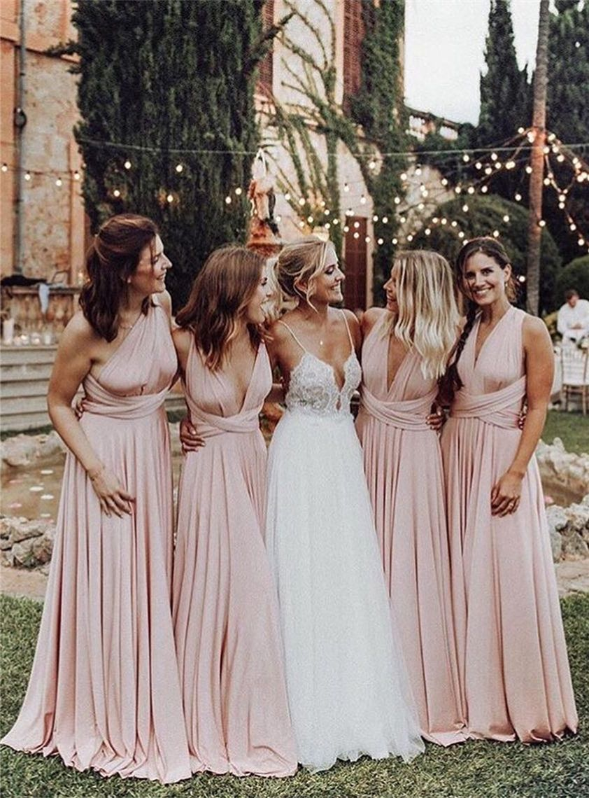 Country Pink Convertible Long Bridesmaid Dresses Cheap Chiffon Beach Wedding Party Blush Pink Bridesmaid Dresses Pink Bridesmaid Dresses Blush Pink Bridesmaids