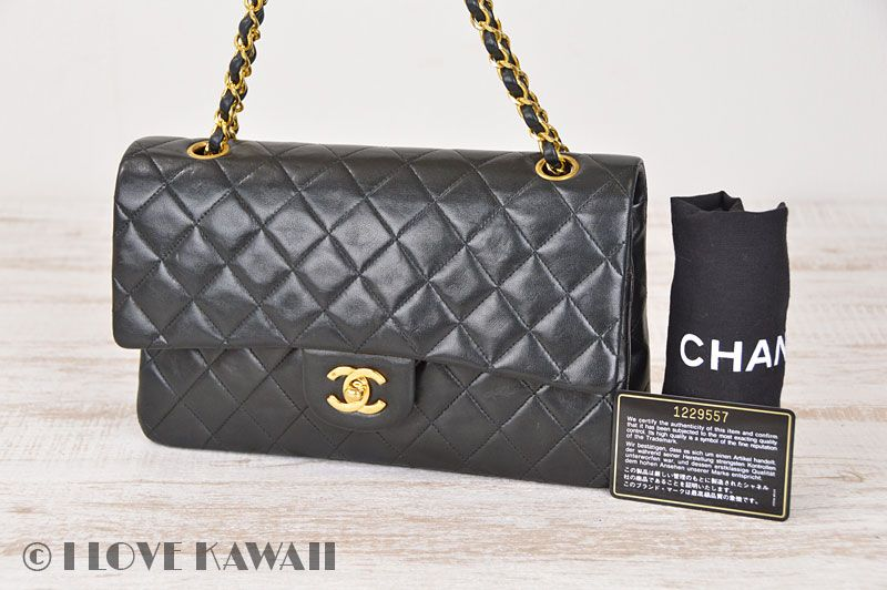 9728030612a685 CHANEL Black Leather Matelasse Double Chain Shoulder Bag | CHANEL ...