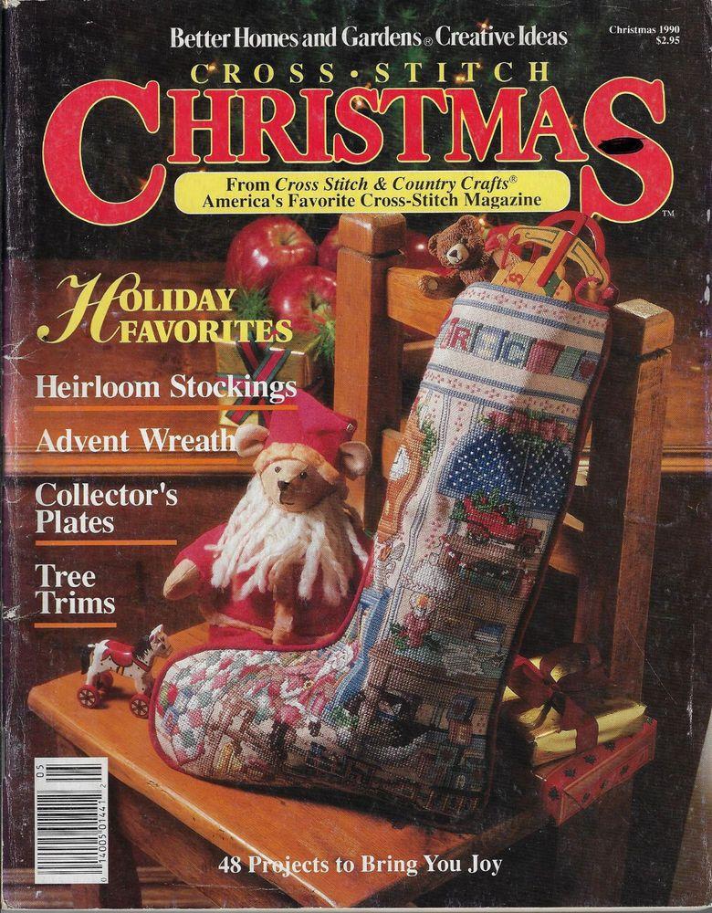 Cross stitch christmas bhg xmas 1990 heirloom stockings