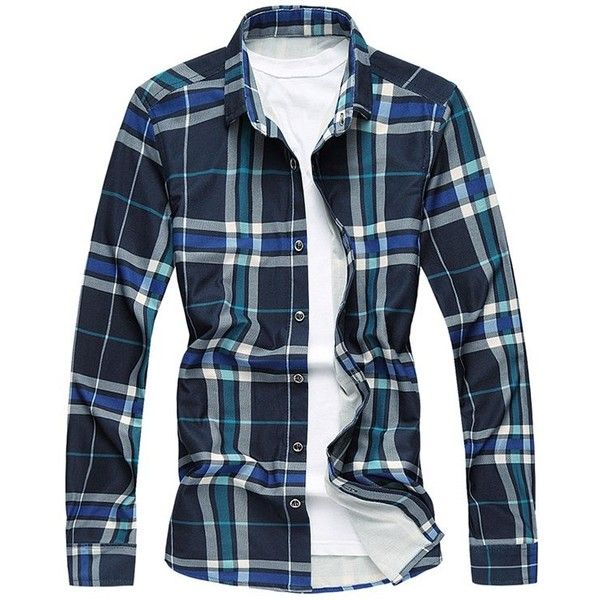 X-Future Mens Stitching Long Sleeve Casual Loose Fit Plaid Dress Work Shirt
