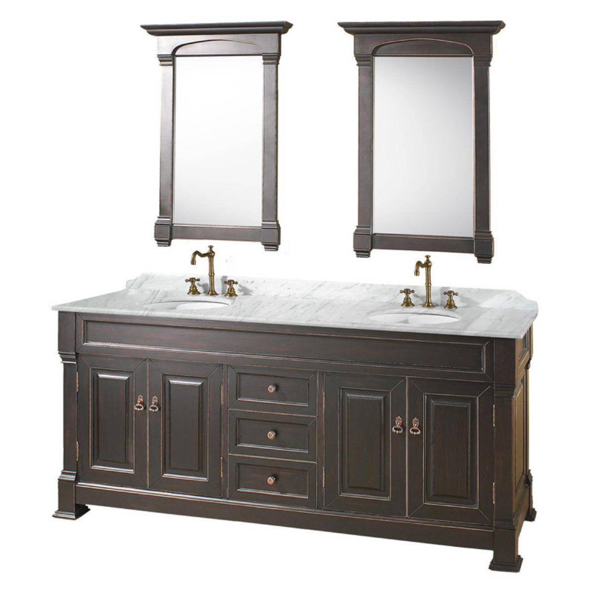 Wyndham Collection Andover 72 In Antique Black Double Bathroom