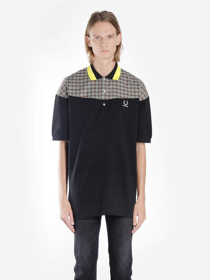 1f1987d4472 Raf Simons Fred Perry X FRED PERRY X BLACK OVERSIZED POLO SHIRT WITH ...