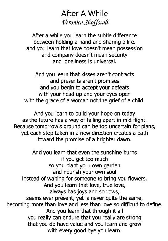 After A While Poem Google Search Be Yourself Quotes