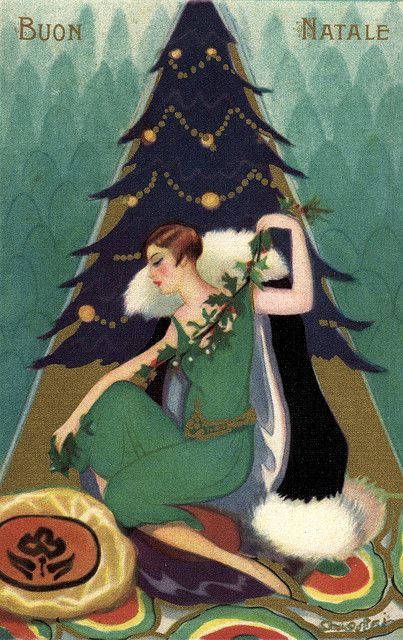 Italian 1920s Christmas card. Buon Natale! | Christmas card art, Christmas art, Christmas illustration