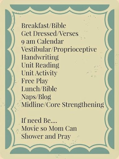 A Home Preschool Schedule Especially For Kids With Spd Pinterest