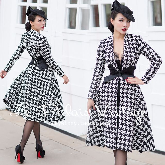 le palais vintage winter women 50s houndstooth long swing coat rockabilly  pinup manteau femme plus size 4xl abrigos mujer casaco 118560807c63
