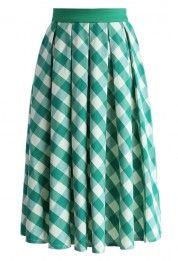 Retro Plaid Check Midi Skirt in Green