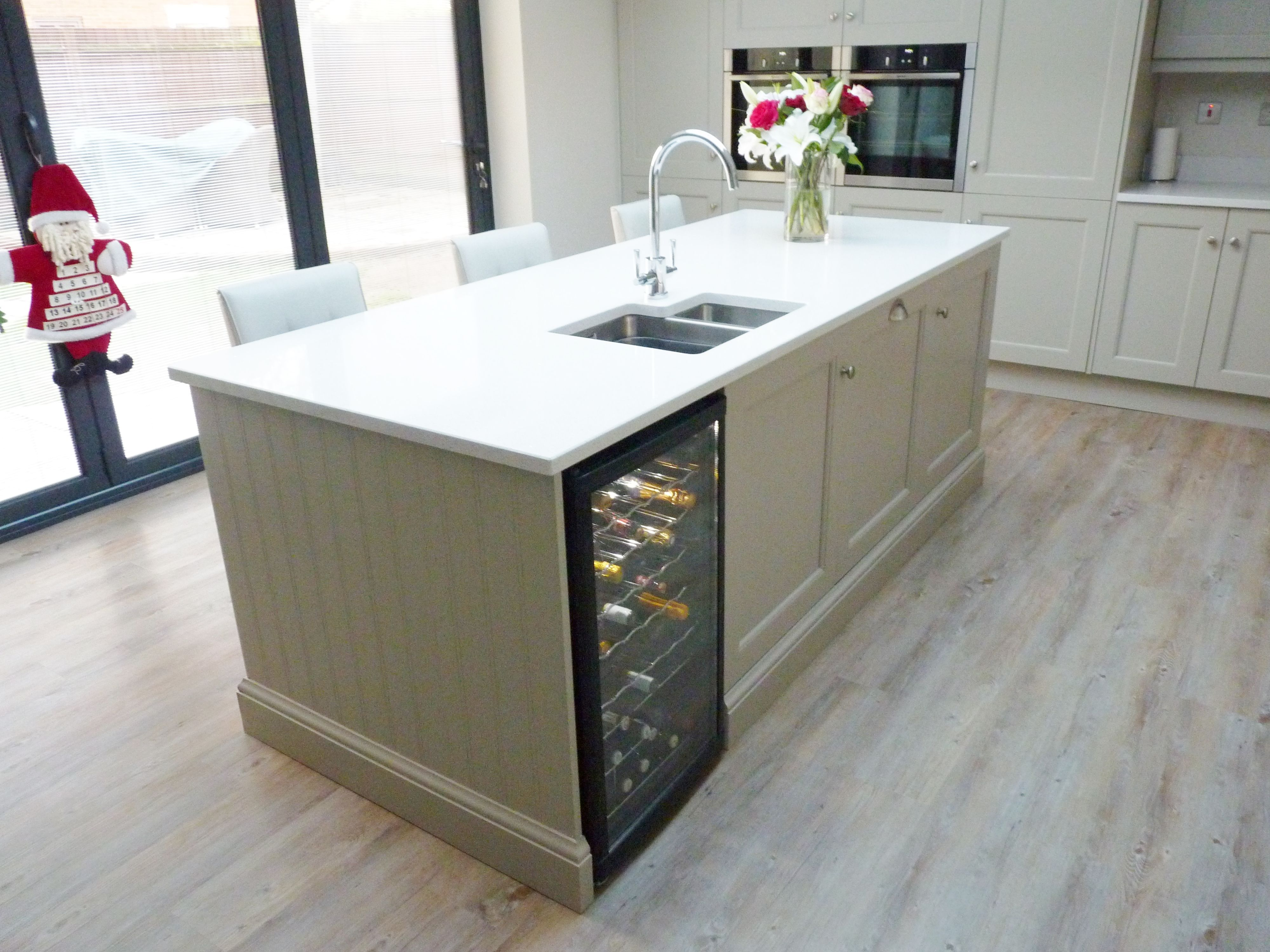 300mm Wide Wine Cooler In Stylish Island Stone Shaker Kitchen Angmering West Sussex Bn16 Shaker Kitchen Island Dark Green Kitchen Shaker Kitchen