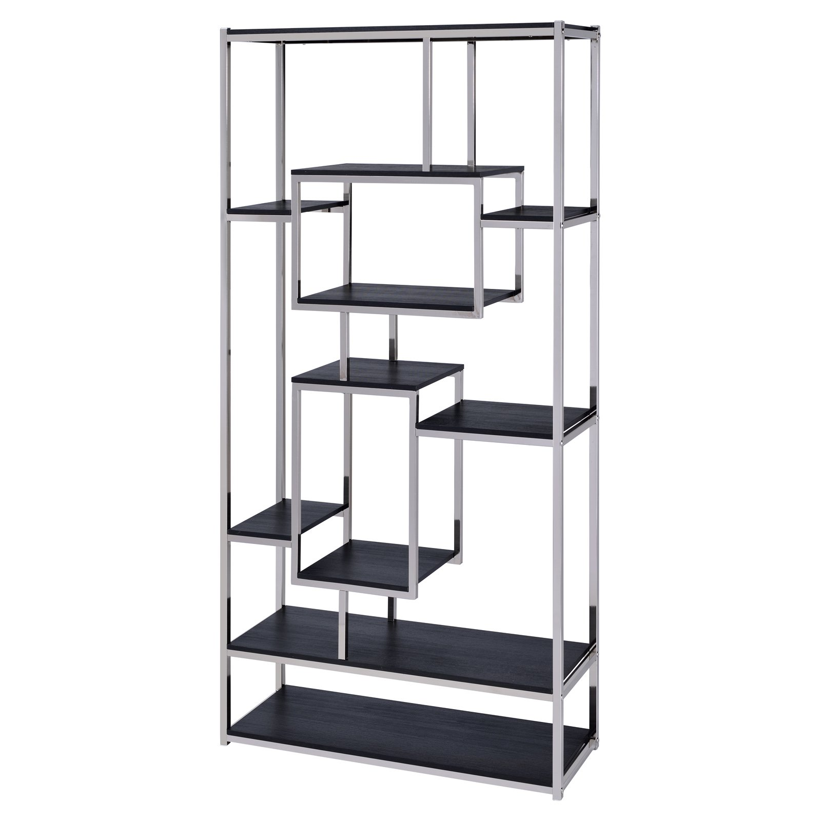 Steve Silver Co Alize 71 In Twelve Shelf Decorative Bookcase Cappuccino Products In 2019 Bookcase Metal Bookcase Shelves