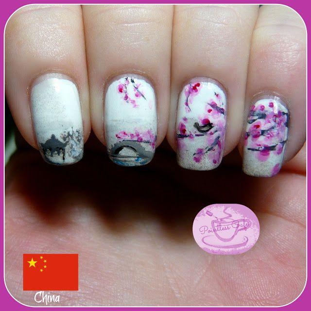 Oriental garden nails | Nails | Pinterest | Oriental and Tutorial nails