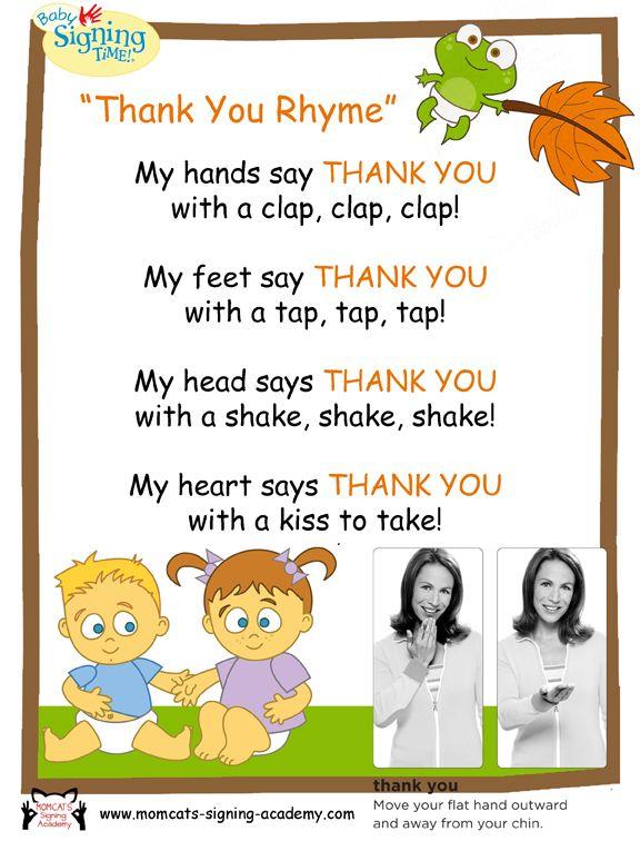 Thank You Rhyme Momcat S Signing Academy Preschool Songs