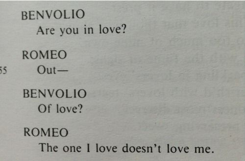 Romeo and Juliet Unrequited Love Quotes