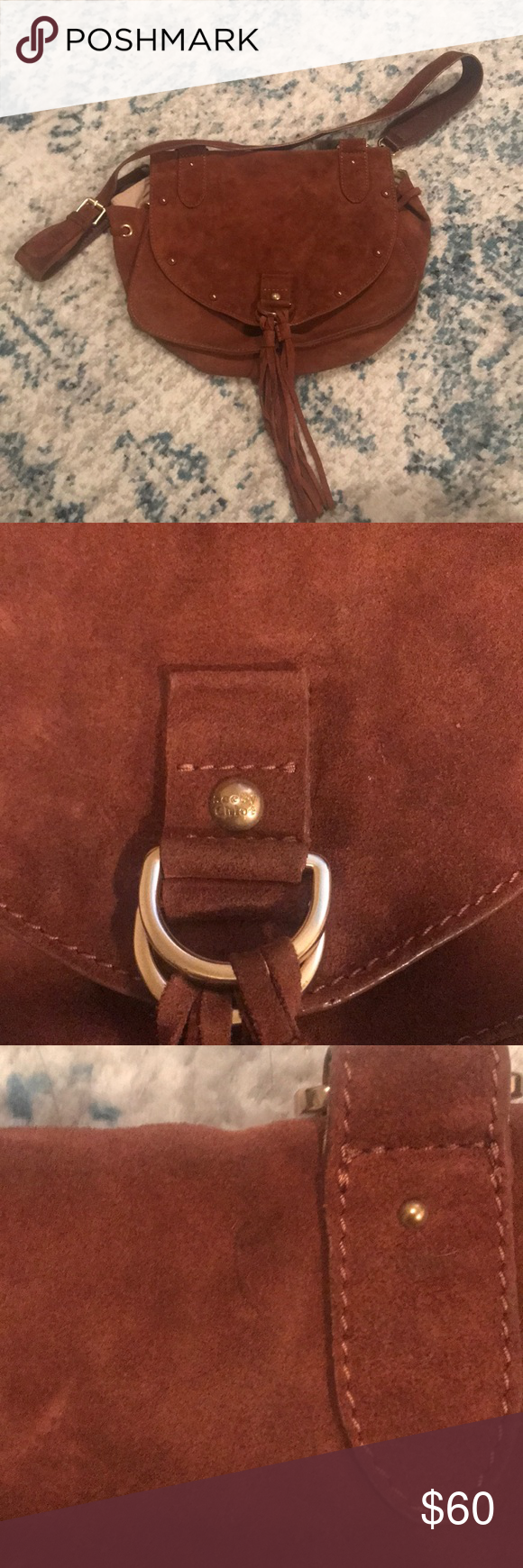 Beautiful see by Chloe crossbody Beautiful boho see by Chloe crossbody. Rust color with gold hardware. Please look at pics closely for signs of wear, discoloration, and pen make on top right of bag. Lots of life left! See By Chloe Bags #seebychloe