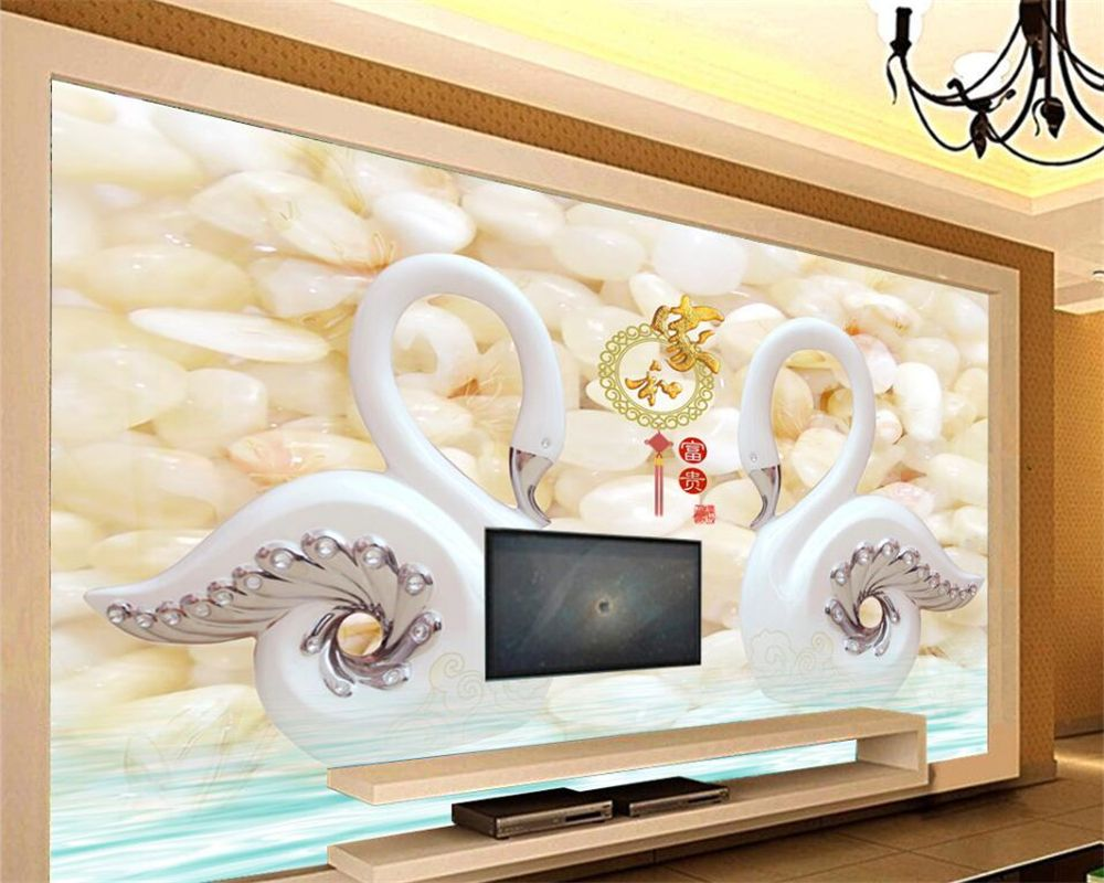 Beibehang 3D Photo Wallpaper Jade Sculptor and Rich Swan Pebble ...
