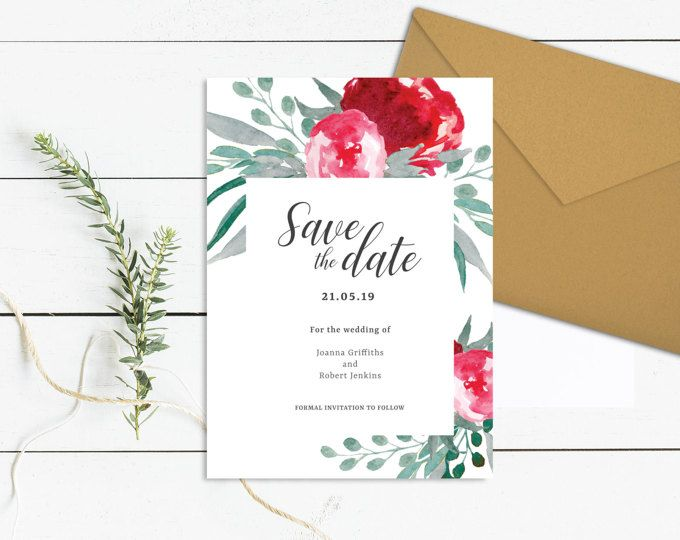 Watercolour Save the Date Template Printable Floral Wedding