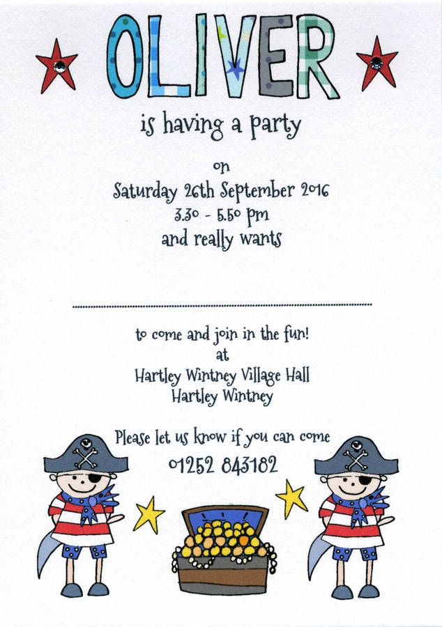 Personalised Childrens Pirate Party Invitations | Party ...