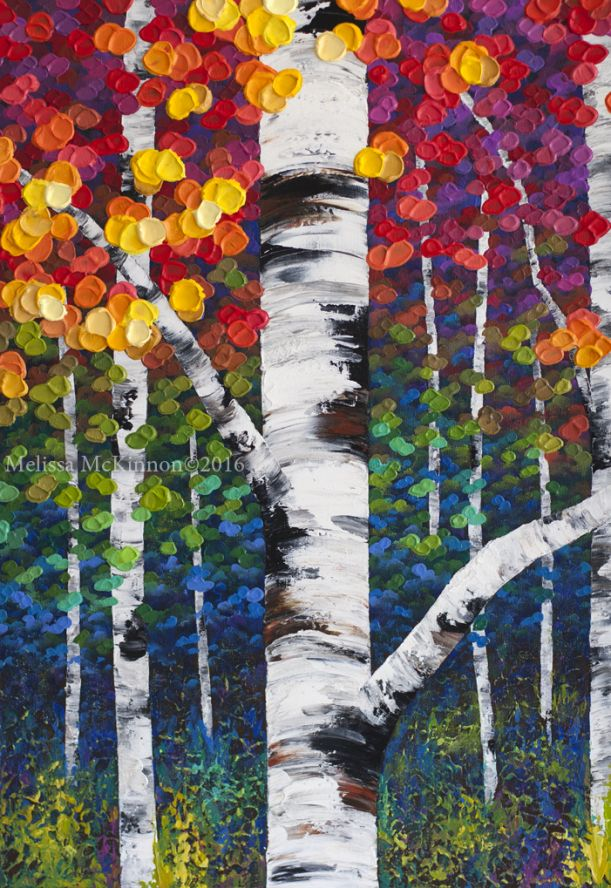 Not an ordinary day 48 x30 acrylic fall tree painting for Fall pictures to paint