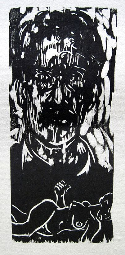 Christopher Hickey, Artist and Model, woodcut
