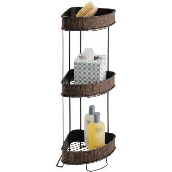 Amazon Com Interdesign Twillo 3 Tier Corner Shelf Bronze Home Kitchen Bathroom Corner Storage Basket Shelves Corner Storage Shelves