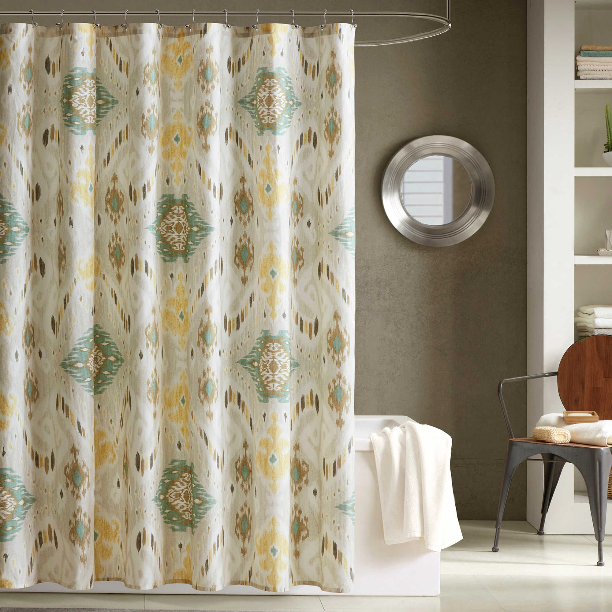 Ink Ivy Nia Printed Shower Curtain In Seafoam Green Shower Curtains Yellow Shower Curtains Curtains