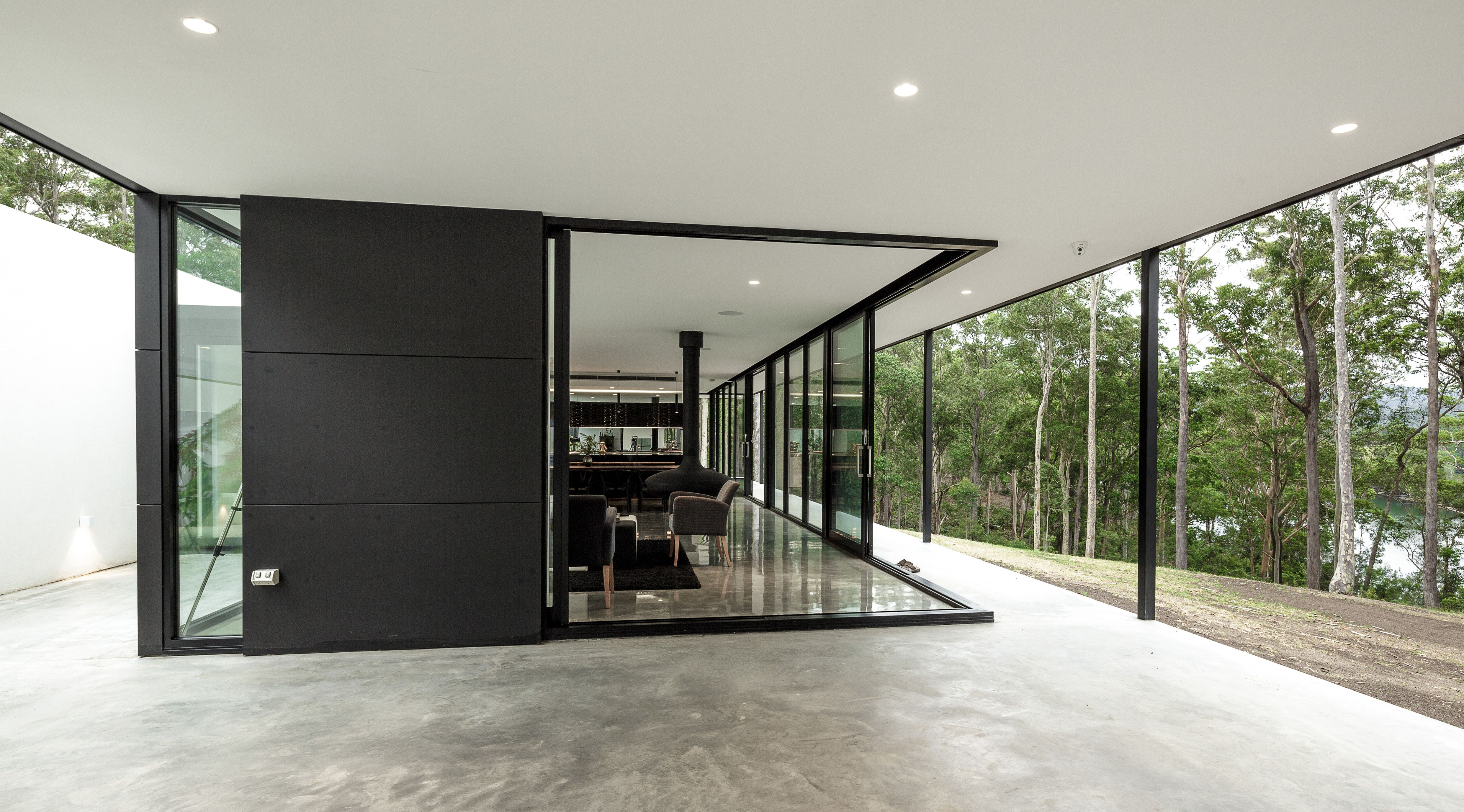 Modern architecture glass box corner sliding door opening. By Collins Caddaye Architects photographed & Modern architecture glass box corner sliding door opening. By ...