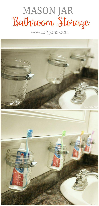 Mason Jar Bathroom Storage Mason Jar Crafts Diy Diy Mason Jar