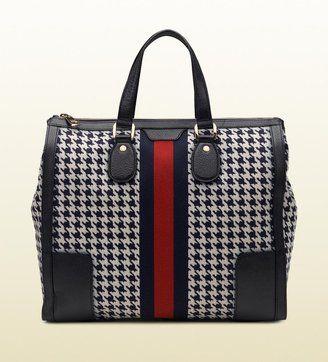 88ac854dedd4 ShopStyle  Seventies Signature Web Pied De Poule Fabric Tote Cheap Designer  Handbags