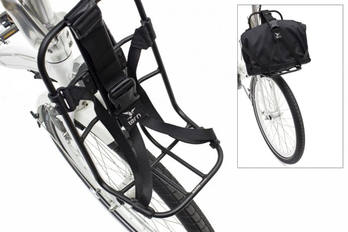 The Kanga rack is designed for your stuff — backpack, laptop bag, or bag of groceries. An ingenious KlickFix™ strap system adjusts to bags or packages of all shapes and sizes and cinches them tight. The Kanga connects directly to the frame through the Tern Luggage Truss so heavy loads can be carried without affecting steering