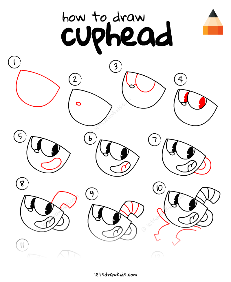 How To Draw Cuphead drawing, step by step, draw for kids