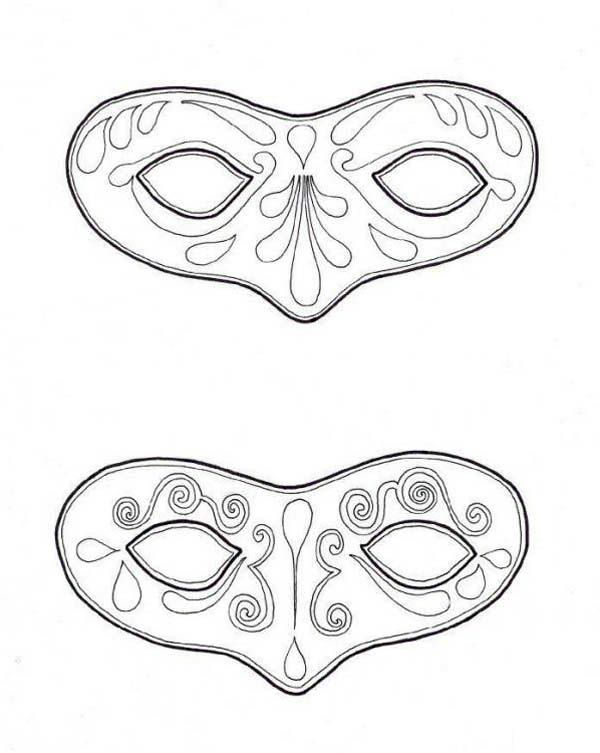 Mardi Gras,  Couple of Mask to Wear on Mardi Gras Coloring Page - masquerade mask template