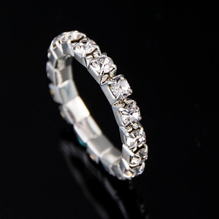1 stuk Heldere Verzilverd Elastische Imitatie Diamond Ringen. Shining Volledige Crystal Strass ringen voor vrouwen sieraden