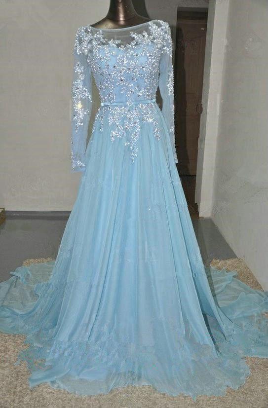 Pretty Light Blue Chiffon Long Prom | Long prom dresses, Sleeve ...