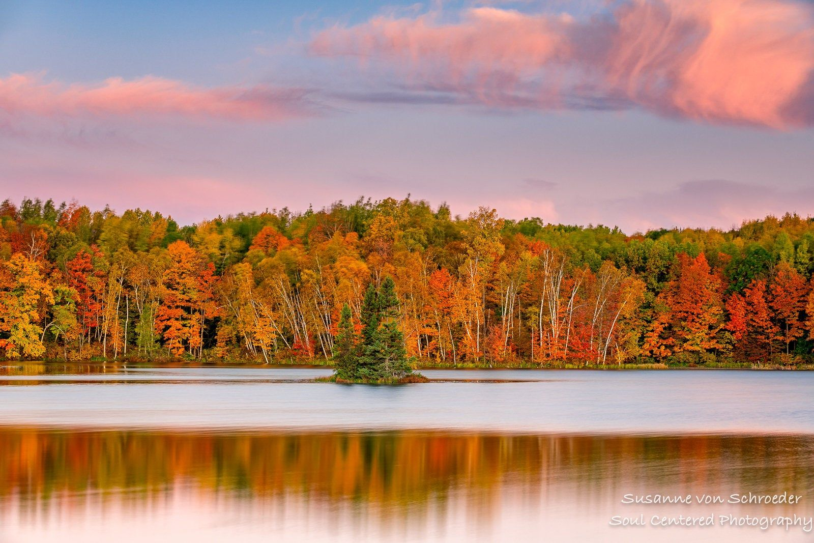 Nature Photography Autumn Landscape Dawn Birch Trees Fall Colors Lake Reflections Fine Art Print Panorama Peaceful North Wisconsin Autumn Landscape Nature Photography Nature Photography Trees