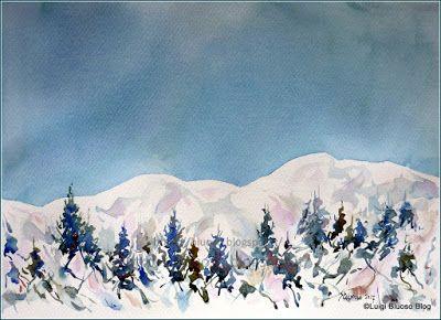 Acquerelli Bambini ~ Lacquerello: un mondo di colori mattino dinverno in montagna by