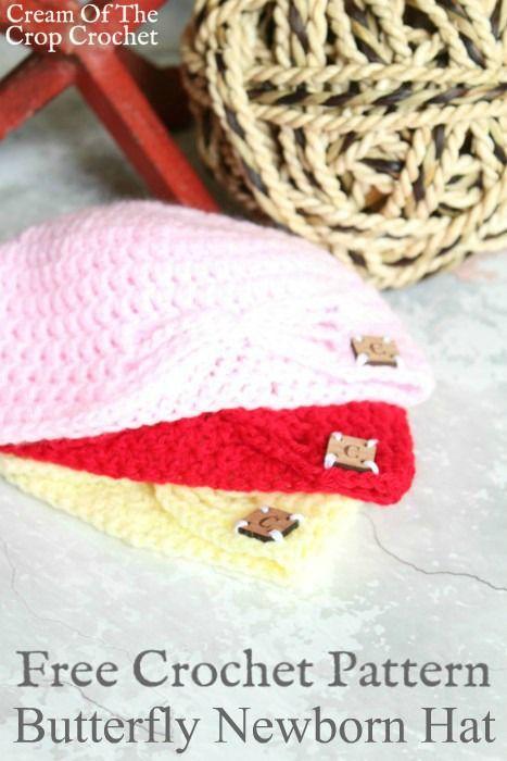 Butterfly Newborn Hat Crochet Pattern | Cream Of The Crop Crochet ...