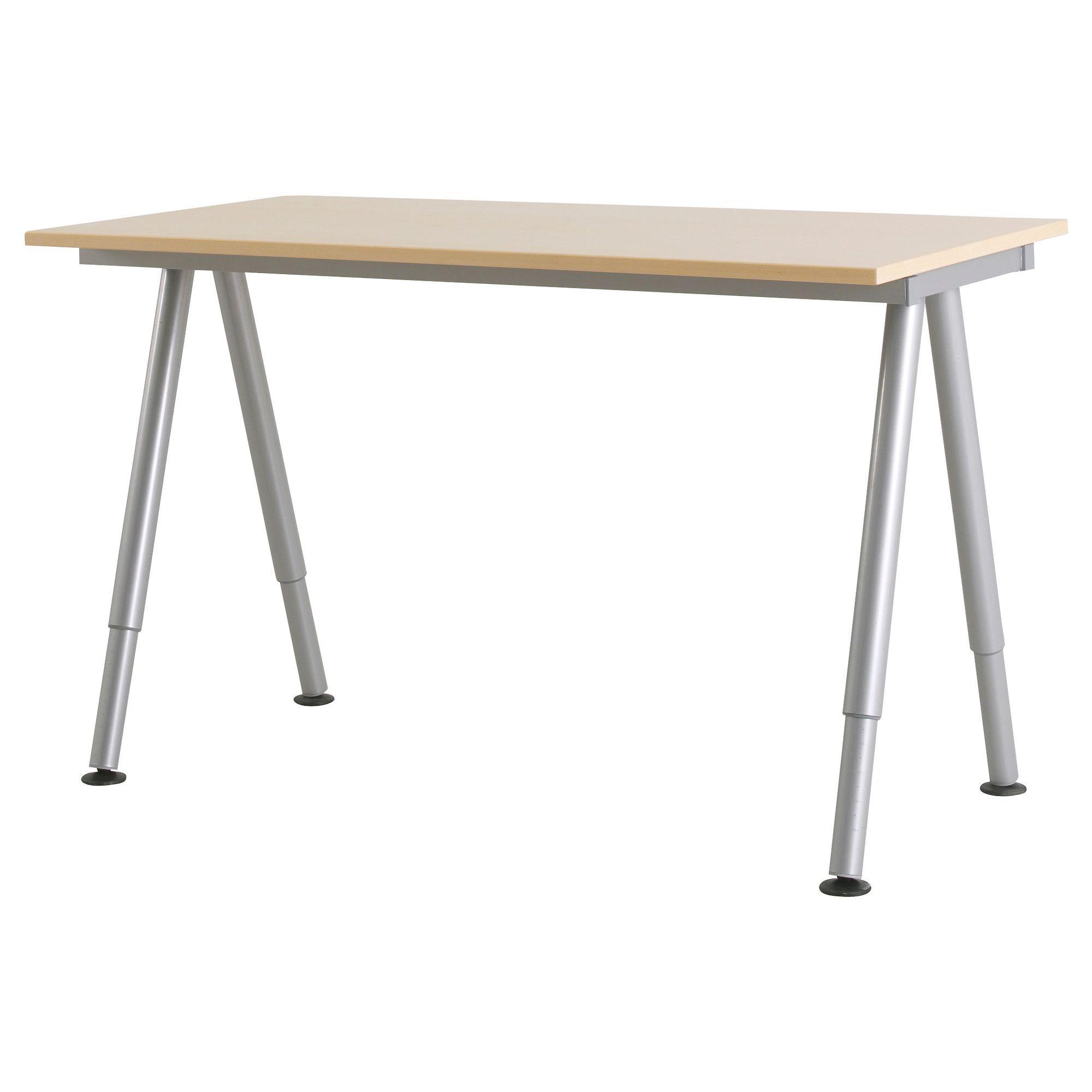 Galant Desk Birch Veneer A Leg Silver Color Ikea