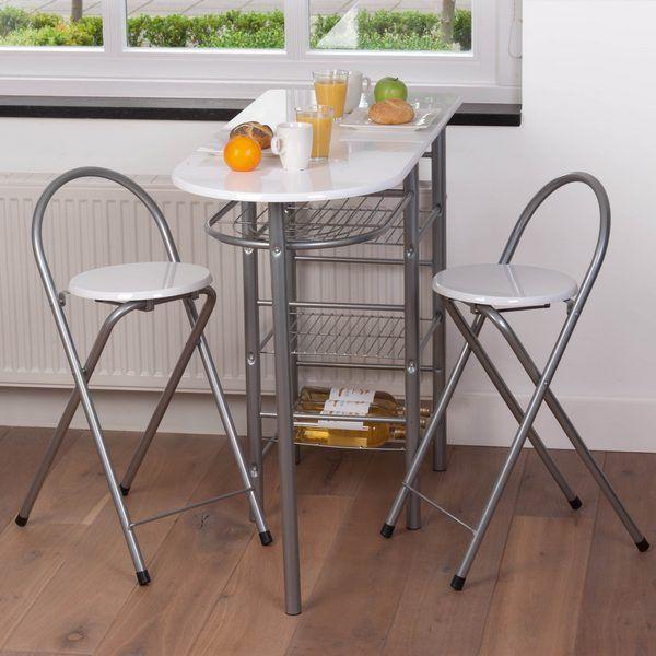 ensemble table bar 2 tabourets blancs - dimensions de la table
