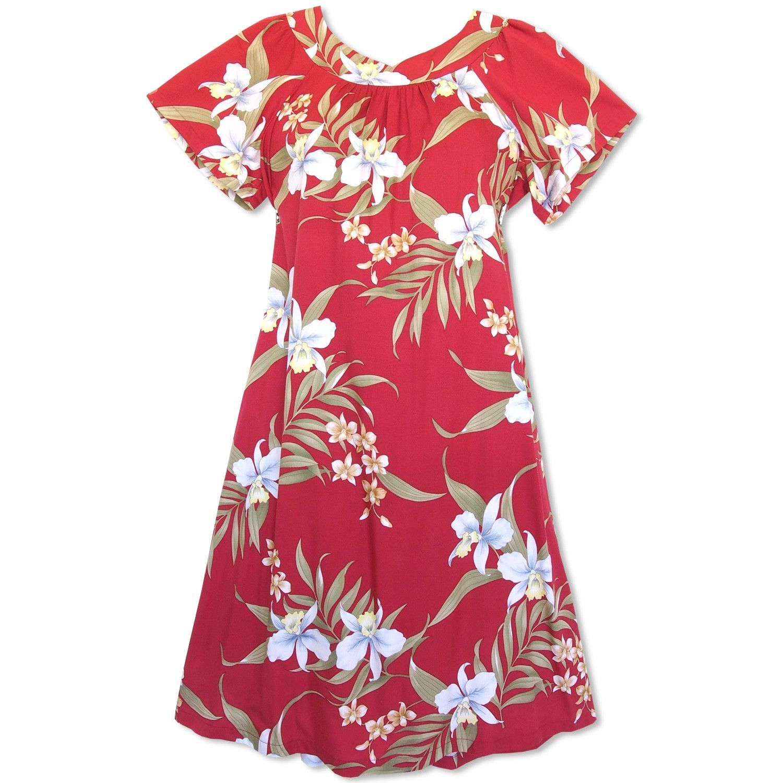 04cfc7cea6a23 Bamboo Orchid Red Hawaiian Rayon Tea Muumuu Dress | I love Hawaii ...