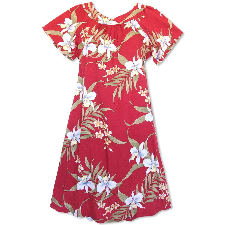 cb94a6d36e4 Bamboo Orchid Red Hawaiian Rayon Tea Muumuu Dress - Lavahut