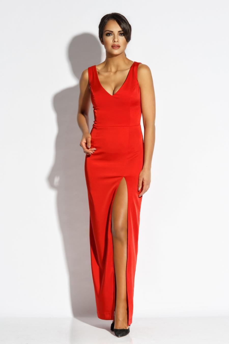 18aef147ba2d41 Stylowa Długa Sukienka Czerwona Bella w 2019 | Sukienka, Sukienki ...