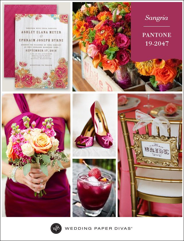 Pantone Sangria Inspiration Board Wedding paper divas Wedding