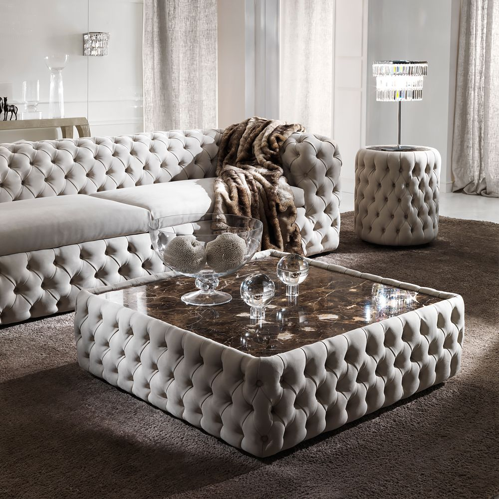 Modern Button Upholstered Nubuck Leather Square Coffee Table Juliettes Interiors Luxury Living Room Living Room Sofa Design Trendy Living Rooms