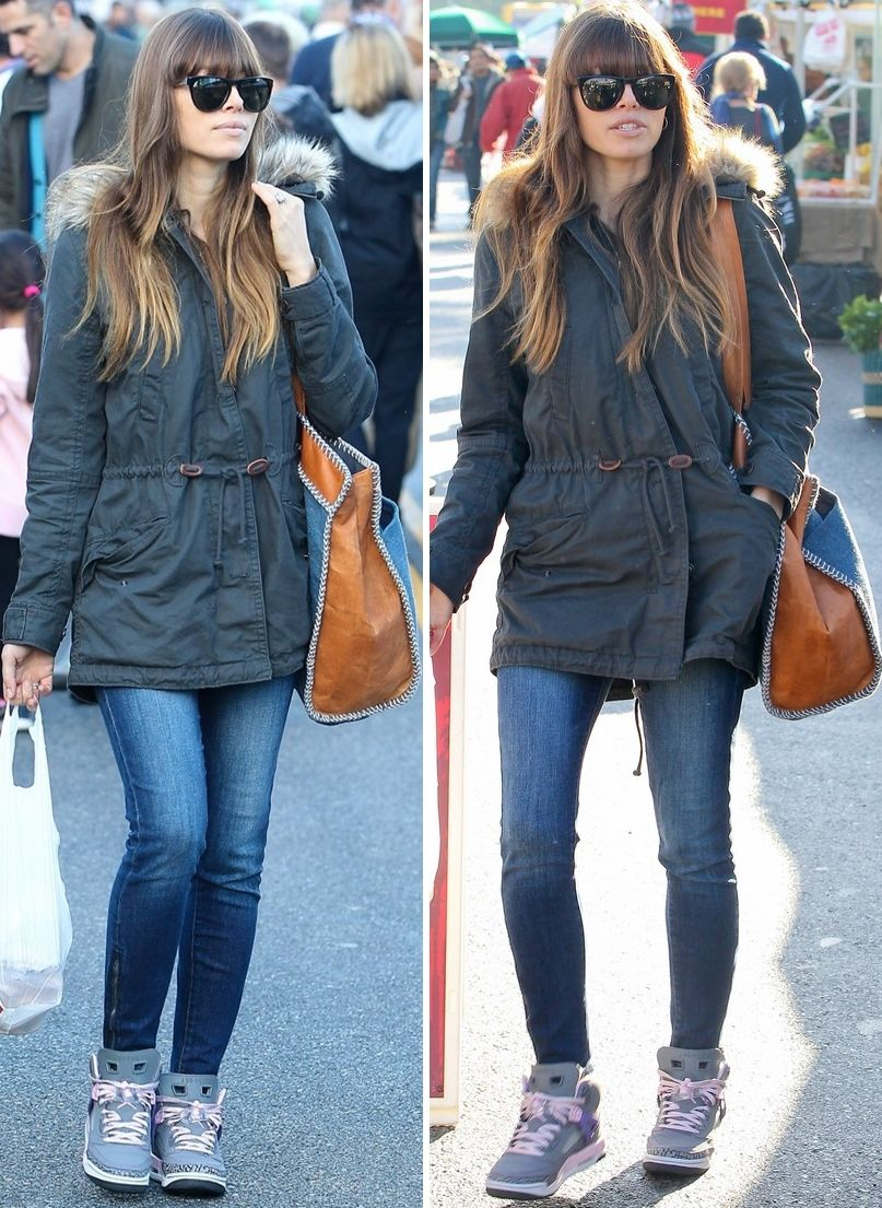 "Jessica Biel street style   Gap Twill coat and Jordan Spizike ""Purple  Earth"" sneakers   minus the sneakers for me. Perhaps a different colour 6ac08c012"