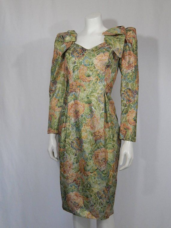 9d663956fa Vintage Dress 80s Eighties OTT Bows on Shoulder Pads XS Extra Small 4 Gold  Pink Green Blue Cream Flo