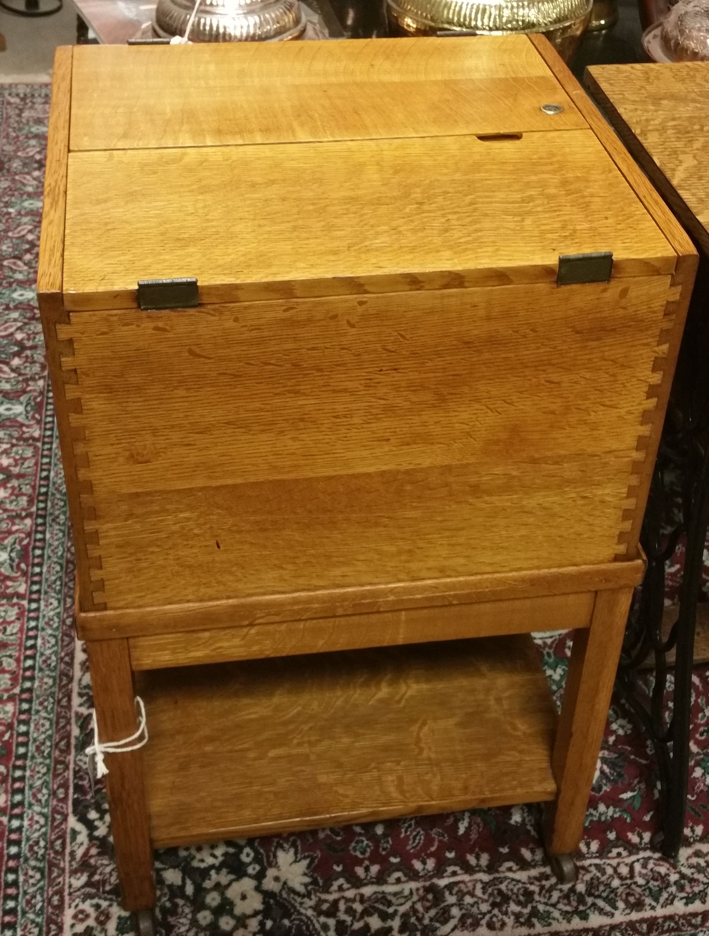Vintage Oak Lift Top File Cabinet on Castors Booth 314