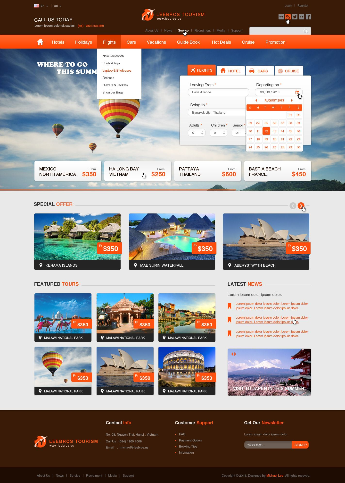 The Booking Travel Psd Template