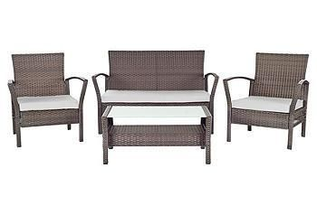 Crisp and contemporary, this four-piece outdoor set has a European designer look that will dress up your patio.