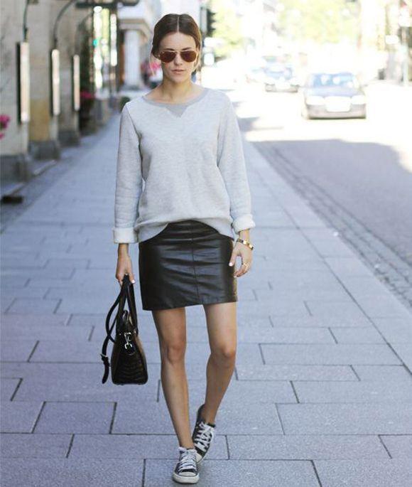 Sneakers-and-skirts-black-leather-mini-skirt-grey-sweatshirt-black-converse-sneakers-black-bag ...