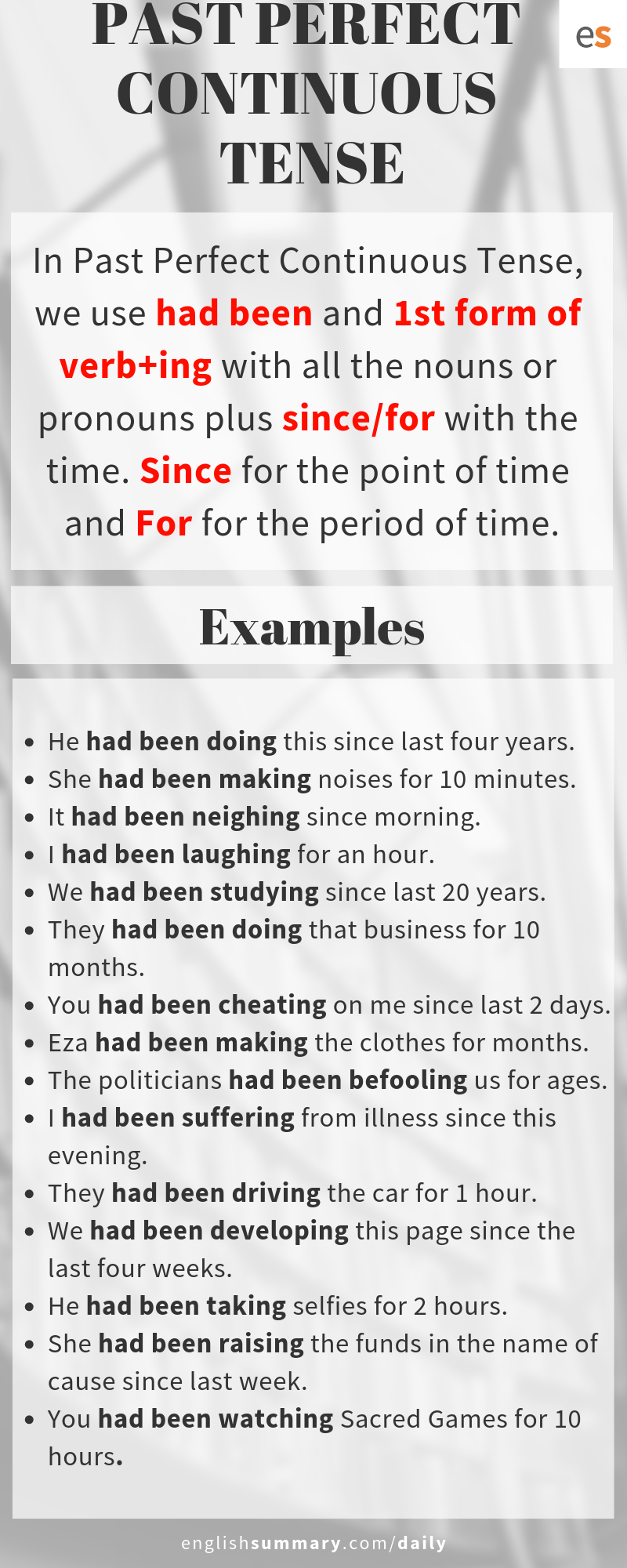 Past Perfect Continuous Tense Rules And Examples English Grammar