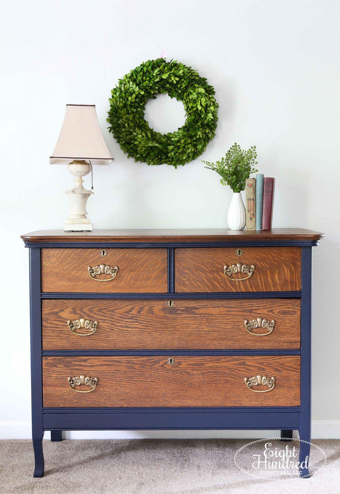 Oak Dresser in Coastal Blue Milk Paint Blue painted